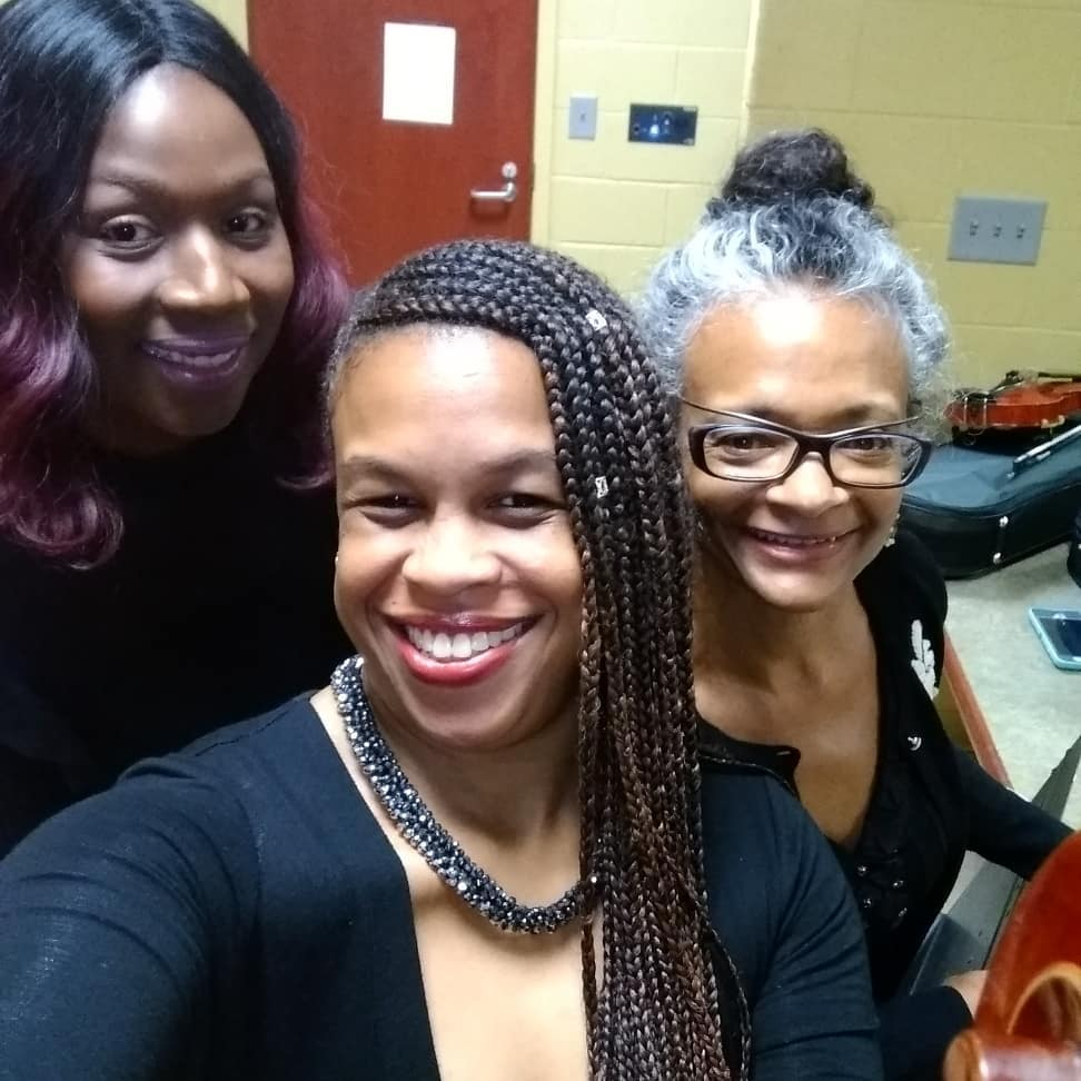 My other string habit. :) Last night. Getting ready to hit the stage with two violins at our Spring Concert. We are the Dal Segno Ensemble directed by Wlanvi Zinsou of @musical_strings_llc