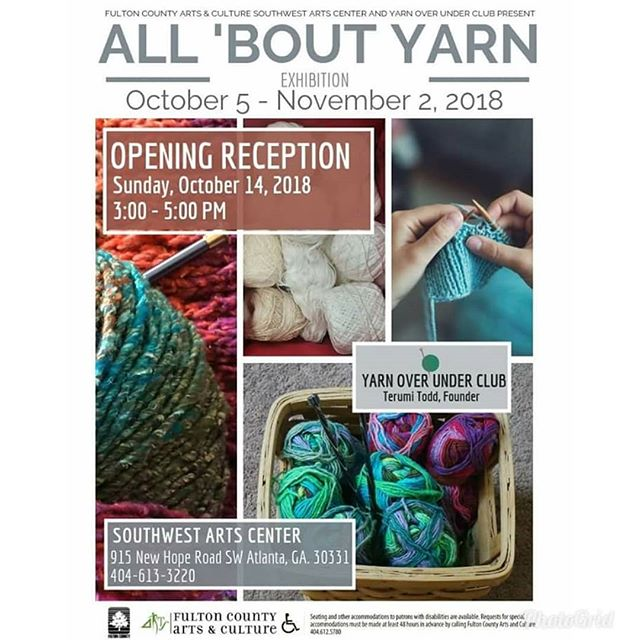 Atlanta, I and other talented yarn artists (Iowan Tribal Stone-Flowers) will be exhibiting our works at the All About Yarn show at the Southwest Arts Center from October 5 – November 2, 2018. The free reception will be Sunday, October 14th from 3-5 pm.  Please come out to meet us and check out our creations, there will be refreshments and live music from the wonderful teen orchestra directed by fellow hooker, Wlanvi Zinsou.  My exhibit will be featuring beaded crochet work in jewelry and apparel.  See you there