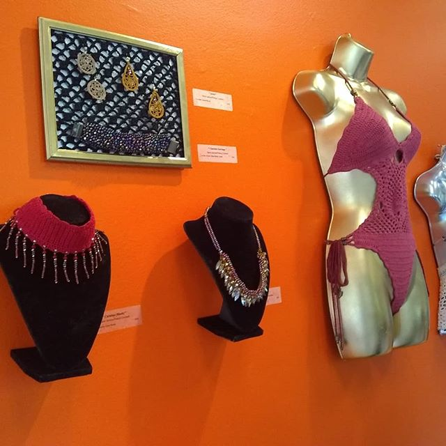 More of my exhibit at the All Bout Yarn show at the Southwest Arts Center