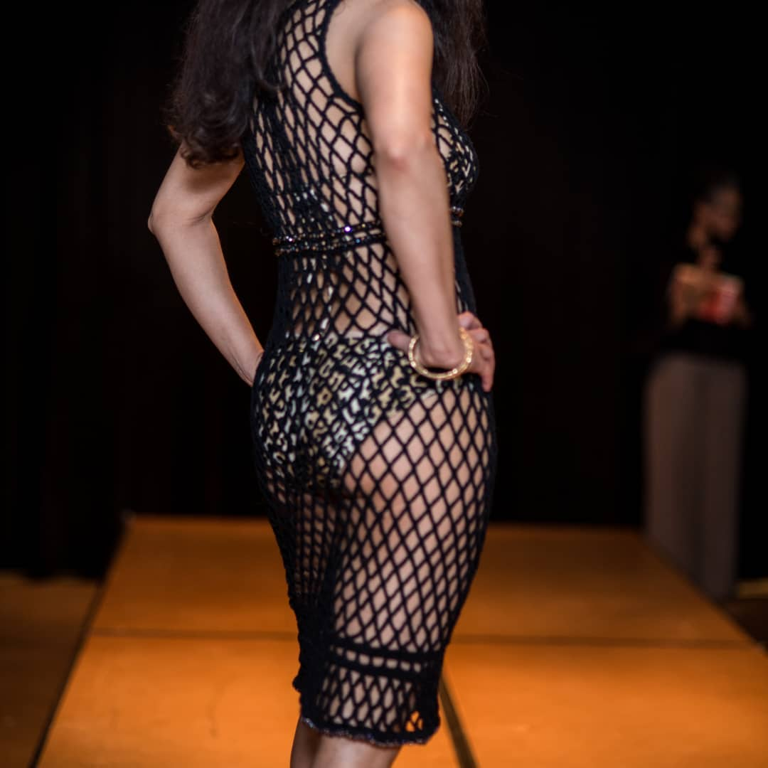 Last year at the first Strands event. @fashionmodelofthesouth  wearing @pinkjoycrochets Lucy beaded mesh dress. Photo by @pricelessphotos