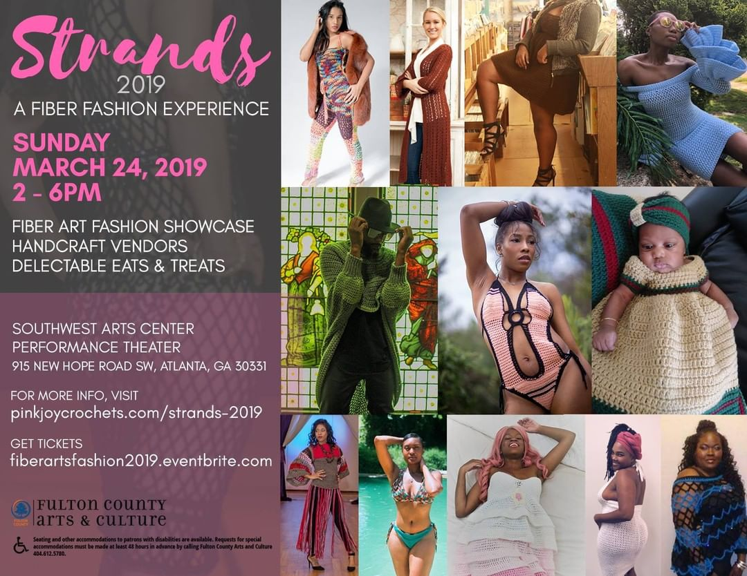 In 3 weeks, Strands 2019 – A Fiber Fashion Showcase returns to the Southwest Arts Center but this time we are doing it on the stage. Join us Sunday, March 24, 2019 in the Performance Theater to enjoy our unique fiber arts fashion show, shop with our creative handcraft vendors, and indulge in delectable eats and treat  Our spectacular show is hosted by DVP and Trina Marie of the Random Thoughts with DVP radio show.  Check out our featured designers on social media and visit their websites.  Get your tickets today at fiberartsfashion2019.eventbrite.com.  See you on the 24th!