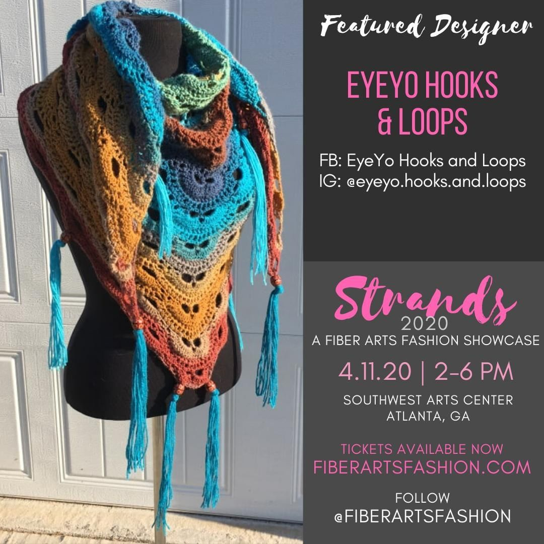 @eyeyo.hooks.and.loops debuts her line of colorful shawls and cowls at. This will be her first runway experience. Follow her and come out to support.  Visit https://www.fiberartsfashion.com. Follow @fiberartsfashion  See you April 11, 2020.  Stay well.  Sponsored by @pinkjoycrochets @the.hookerlife