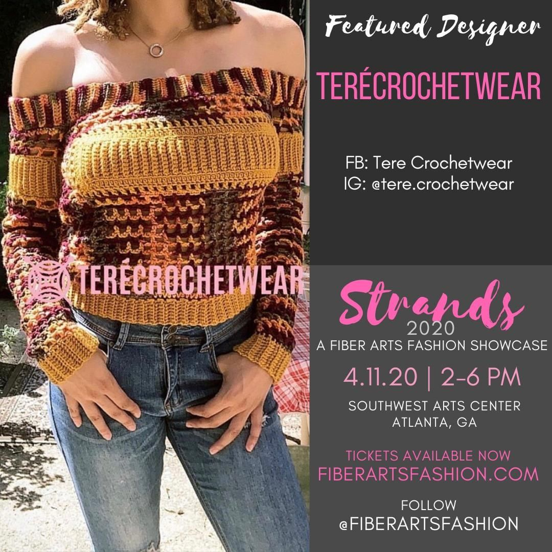 @tere.crochetwear is coming to from Clinton, Maryland for her first fashion show. Welcome her, follow her, and come see her collection up close and personal.  Visit https://www.fiberartsfashion.com.  Follow @fiberartsfashion  See you April 11, 2020.  Stay well.  Sponsored by @pinkjoycrochets @the.hookerlife <- Follow